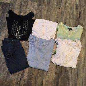 3x 22/24 lot 6 shirts 1 jean some NWT